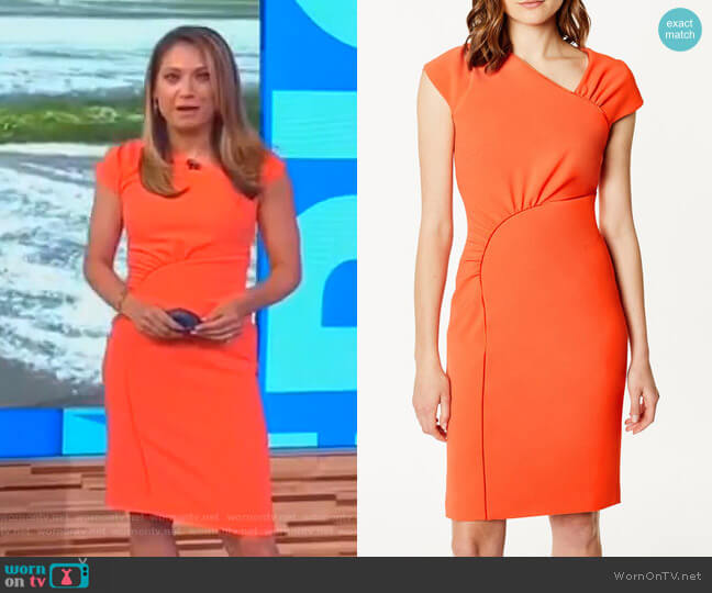 Gathered Dress by Karen Millen worn by Ginger Zee on Good Morning America