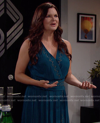 Katie's teal embellished dress on The Bold and the Beautiful