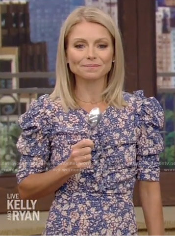Kelly's blue floral ruched dress on Live with Kelly and Ryan
