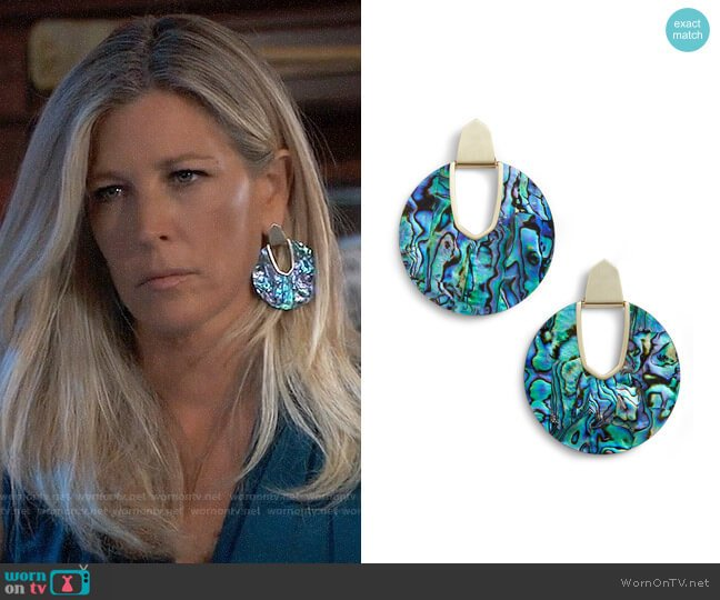 Kendra Scott Diane Earrings in Abalone worn by Carly Corinthos (Laura Wright) on General Hospital
