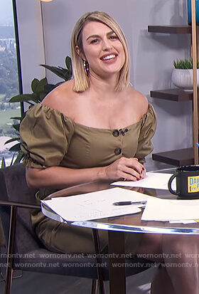 Carissa's khaki off shoulder button front dress on E! News Daily Pop