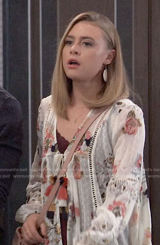 Kiki's white floral tassel tie top on General Hospital
