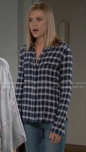 Kiki's navy plaid shirt on General Hospital