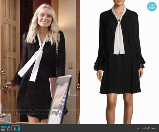 Kobi Halperin Ruffle Bell-Sleeve Silk Dress worn by Abby Newman (Melissa Ordway) on The Young & the Restless