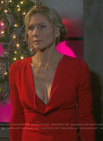 Kristen's red cowl neck dress on Days of our Lives