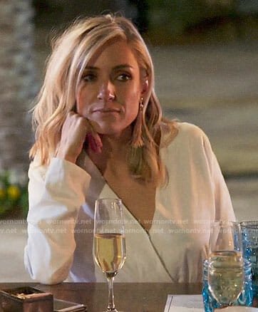 Kristin's white romper and pink fringe earrings on Very Cavallari