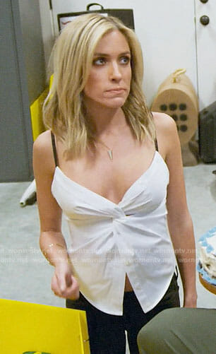 Kristin's white twist front cami on Very Cavallari