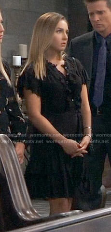 Kristina's black ruffled eyelet dress on General Hospital