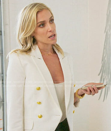 Kristin's white blazer with gold buttons on Very Cavallari