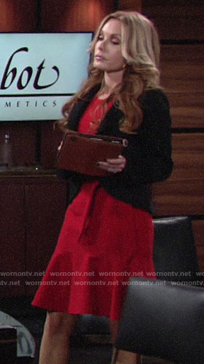Lauren's red ruffled hem dress on The Young and the Restless