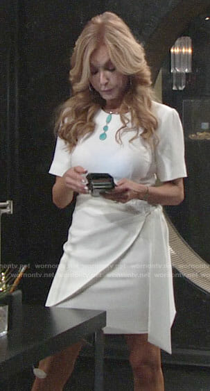 Lauren's white short sleeved dress on The Young and the Restless