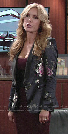 Lauren's black floral blazer on The Young and the Restless