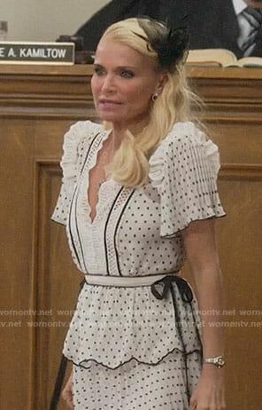 Lavinia's white polka dot dress on Trial and Error