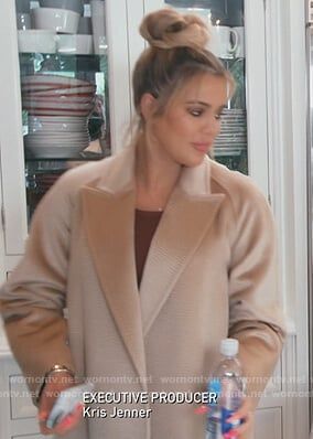 Khloe's beige wrap coat on Keeping Up with the Kardashians