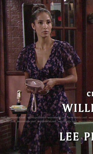 Lily's blue and pink floral dress on The Young and the Restless