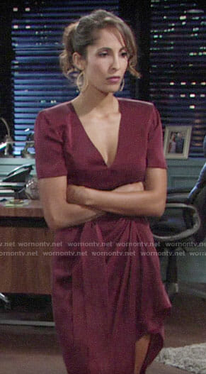 Lily's burgundy wrap dress on The Young and the Restless