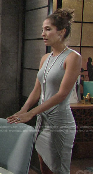 Lily's grey twist front dress on The Young and the Restless