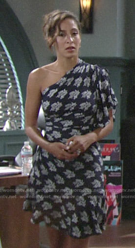 Lily's navy floral one-shoulder dress on The Young and the Restless