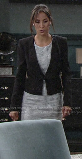 Lily's tweed dress and black blazer on The Young and the Restless