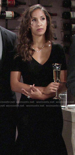 Lily's black v-neck dress on The Young and the Restless