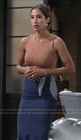 Lily's orange and blue tie-waist dress on The Young and the Restless