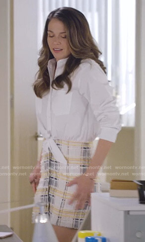 Liza's white tie waist shirt and tweed mini skirt on Younger
