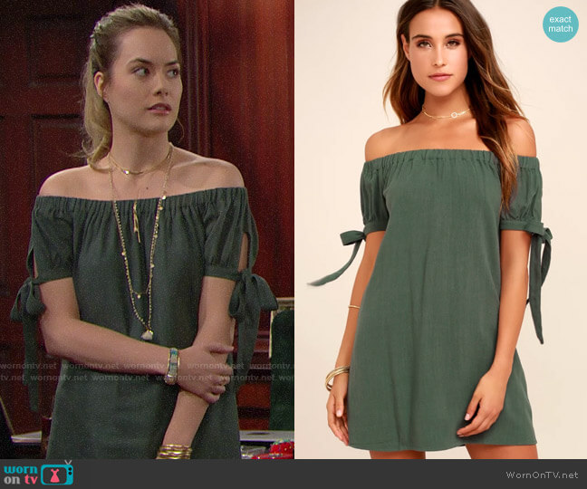 Lulus Al Fresco Evenings Olive Green Off-the-shoulder Dress worn by Hope Logan (Annika Noelle) on The Bold & the Beautiful