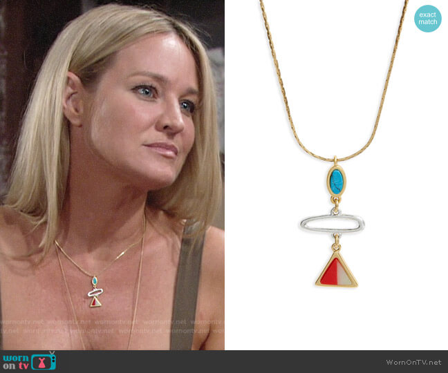 Madewell Stone Inlay Pendant Necklace worn by Sharon Case on The Young & the Restless