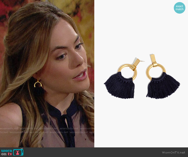 Madewell Tassel Hoop Earrings worn by Hope Logan (Annika Noelle) on The Bold & the Beautiful