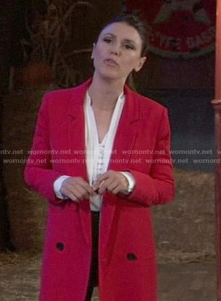 Margaux's red double breasted blazer on General Hospital