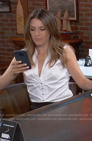 Margaux's white sleeveless button front top on General Hospital