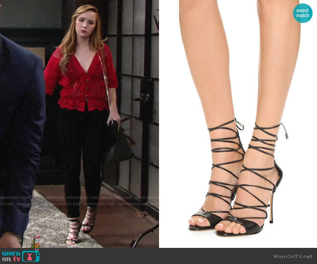 Schutz Leila Sandals worn by Camryn Grimes on The Young & the Restless