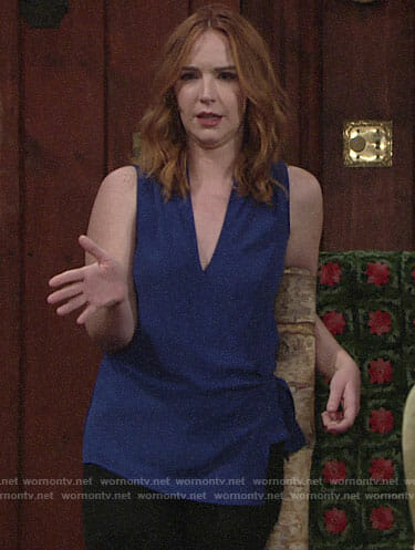 Mariah's blue wrap top on The Young and the Restless