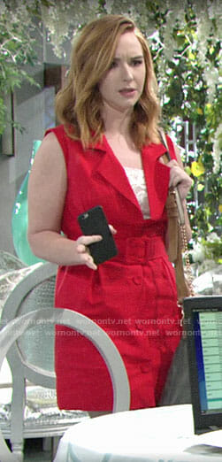 Mariah's red sleeveless blazer dress on The Young and the Restless