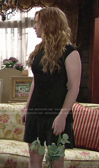 Mariah's black drop waist dress on The Young and the Restless