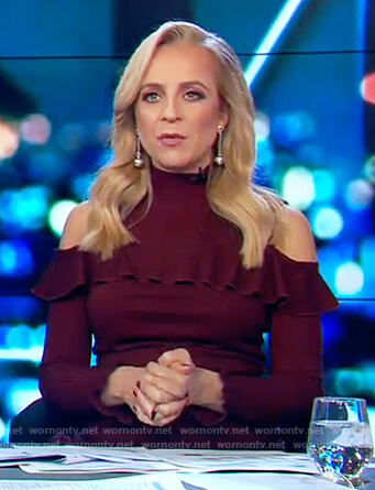 Carrie's maroon cold shoulder mini dress on The Project