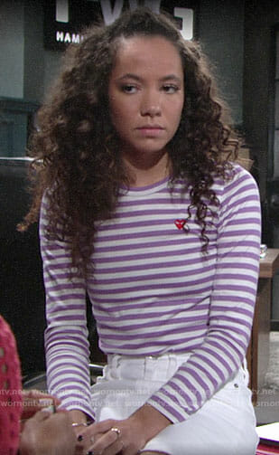 Mattie's purple striped heart tee on The Young and the Restless
