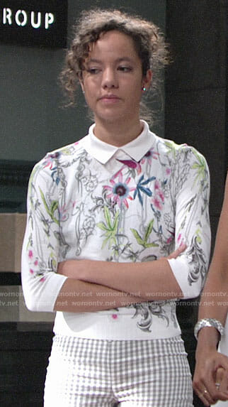 Mattie's white floral sweater on The Young and the Restless