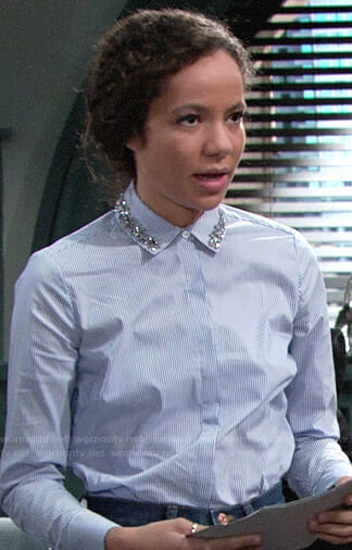 Mattie's blue striped shirt with embellished collar on The Young and the Restless
