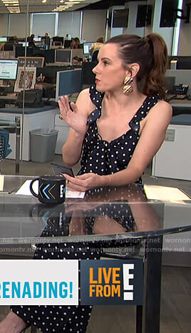 Melanie's black polka dot jumpsuit on Live from E!