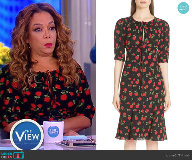 Rose Print Silk Georgette Dress by Michael Kors worn by Sunny Hostin on The View
