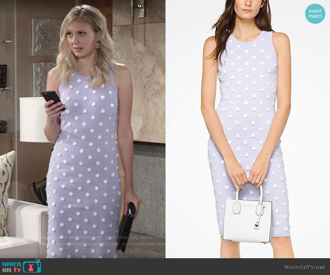 MICHAEL Michael Kors Floral Embellished Stretch-Viscose Dress worn by Melissa Ordway on The Young & the Restless
