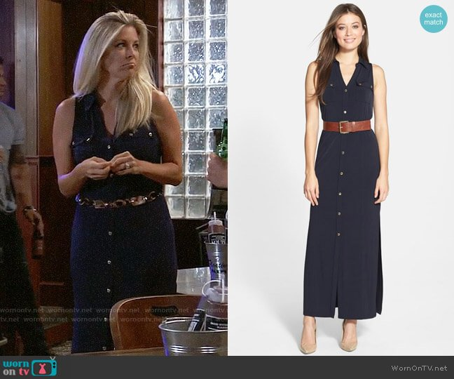 MICHAEL Michael Kors Sleeveless Maxi Shirtdress worn by Carly Corinthos (Laura Wright) on General Hospital