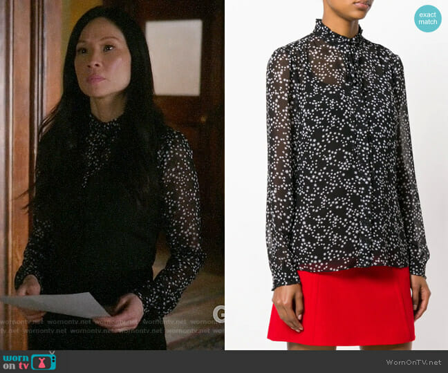 MICHAEL Michael Kors Star Print Blouse worn by Lucy Liu on Elementary