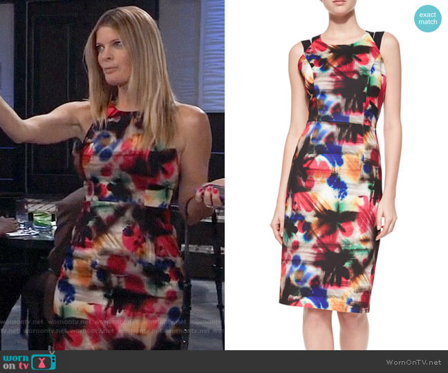 Milly Hayden Graffiti-Print Sheath Dress worn by Nina Reeves (Michelle Stafford) on General Hospital