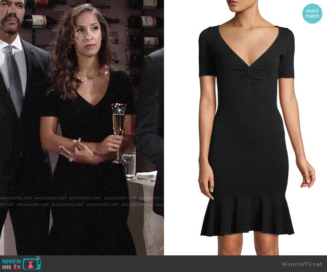Milly Shirred V-neck Flounce Hem Dress worn by Lily Winters (Christel Khalil) on The Young & the Restless