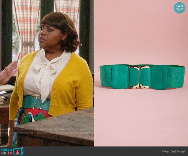 ModCloth Brake for Boldness Belt in Teal worn by Anne Flatch (Sherri Shepherd) on Trial & Error