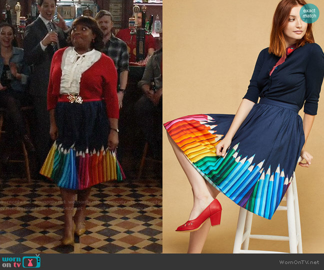 ModCloth Cotton A-Line Skirt with Pockets worn by Sherri Shepherd on Trial & Error