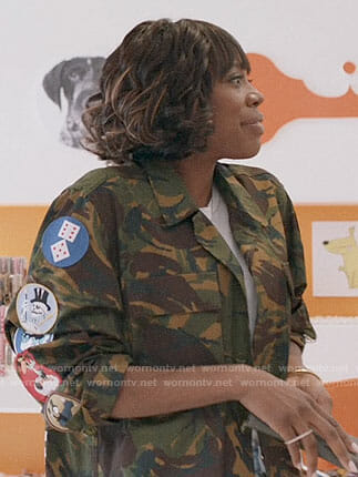 Molly's camo jacket with patches on Insecure