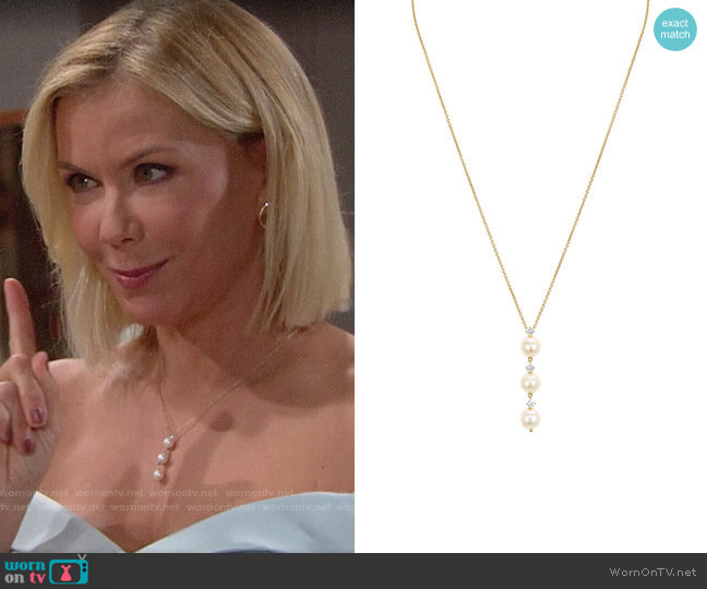 Nadri Lanai Lariat Necklace worn by Brooke Logan (Katherine Kelly Lang) on The Bold & the Beautiful